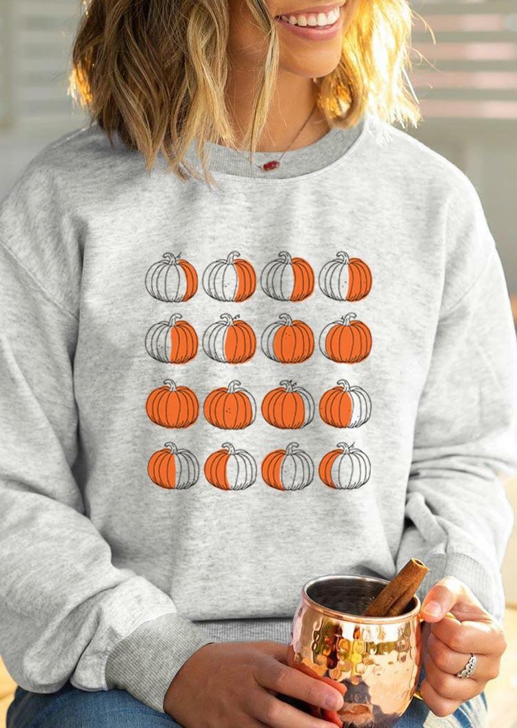 Pumpkin Moon Phases Sweatshirt - Light Grey