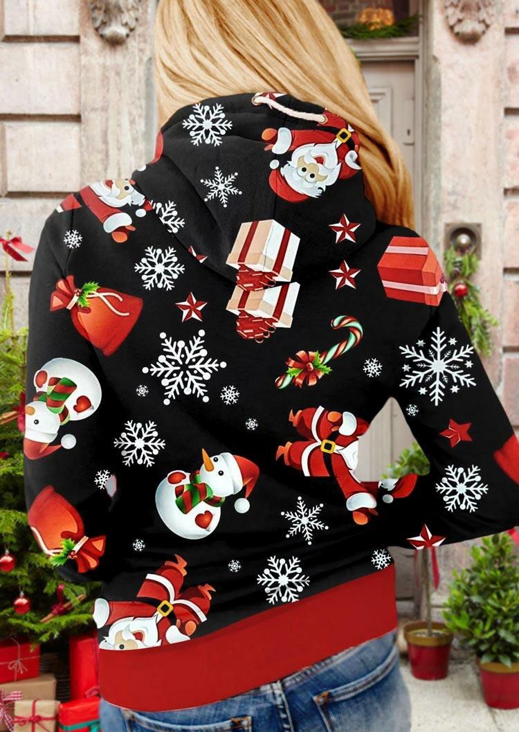 Christmas Snowman Snowflake Santa Claus Drawstring Hoodie - Black
