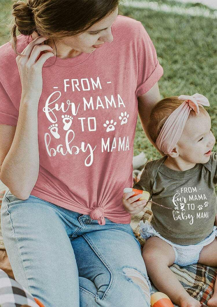 From Fur Mama To Baby Mama Dog Paw T-Shirt Tee - Cameo Brown