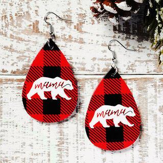 Christmas Double-Sided Buffalo Plaid Mama Bear Water Drop Earrings - Red