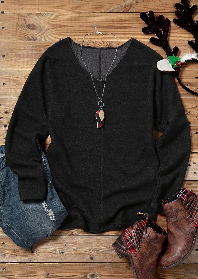 Long Sleeve V-Neck Pullover Sweatshirt - Dark Grey