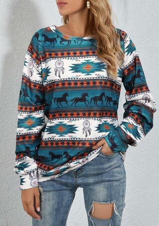 Aztec Tribal Dreamcatcher Western Horse Sweatshirt