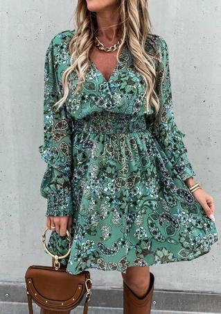 Paisley Floral Ruffled V-Neck Elastic Waist Mini Dress - Green