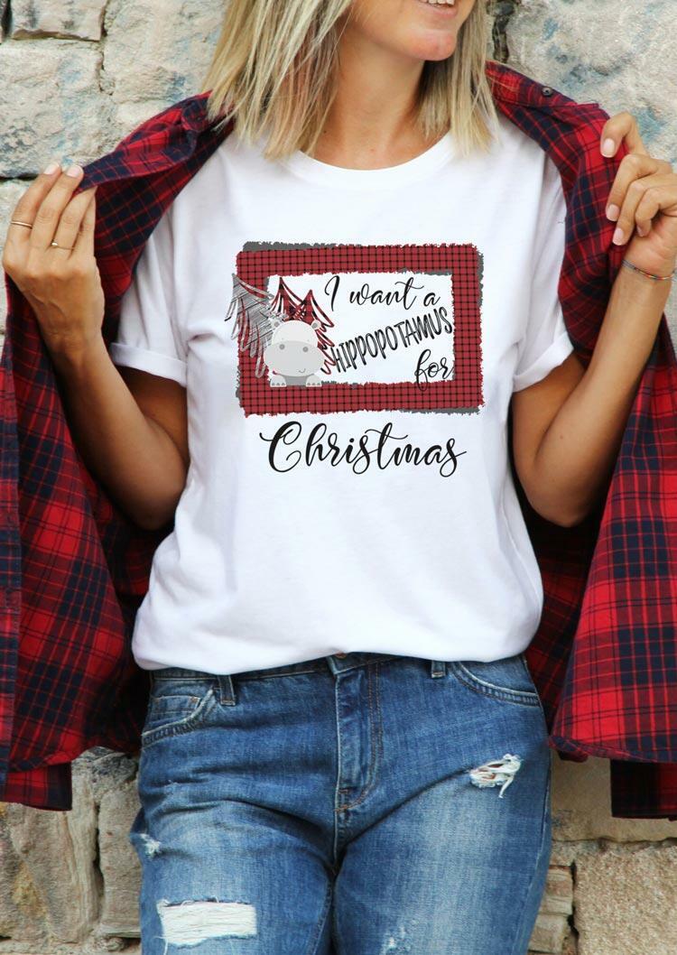I Want A Hippopotamus For Christmas Plaid T-Shirt Tee -White