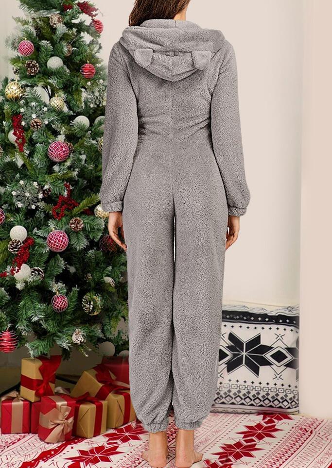 Winter Warm Zipper Long Sleeve Hooded Pajamas Jumpsuit