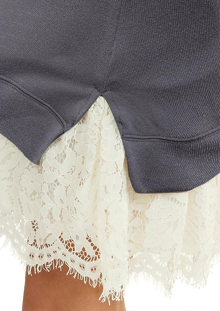 Lace Splicing Long Sleeve V-Neck Mini Dress - Gray
