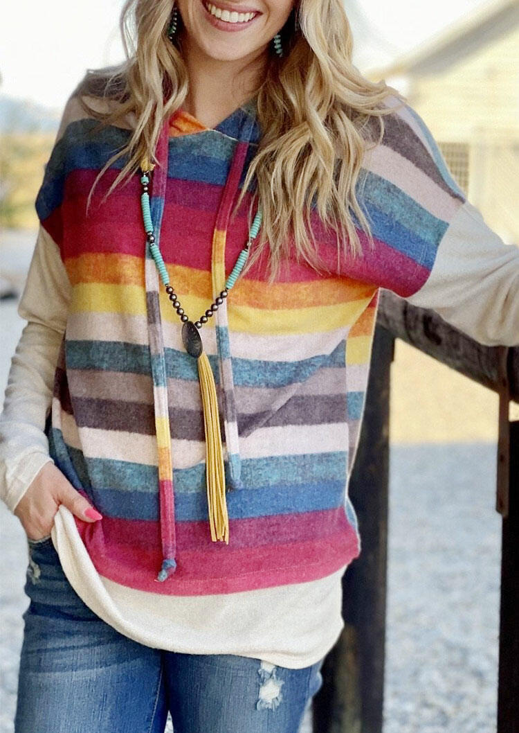 Colorful Striped Drawstring Pullover Hoodie without Necklace