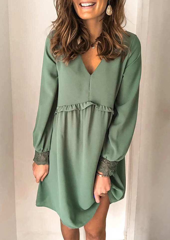 Lace Splicing Ruffled Long Sleeve V-Neck Mini Dress - Green