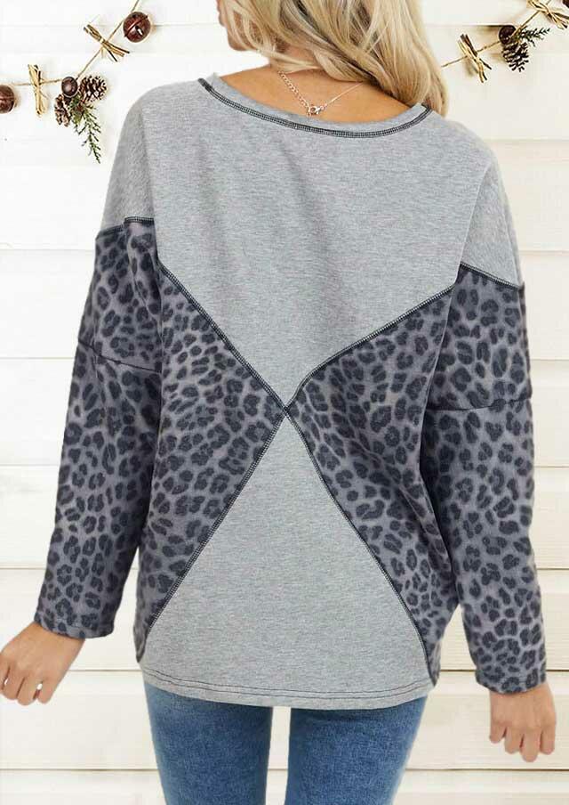 Leopard Splicing Long Sleeve O-Neck Sweatshirt - Gray