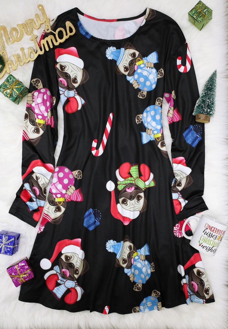 Christmas Dabbing Pug Long Sleeve Mini Dress - Black