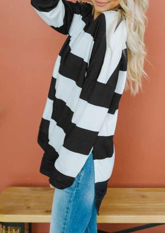 Striped Color Block Sided Slit Pullover Sweatshirt