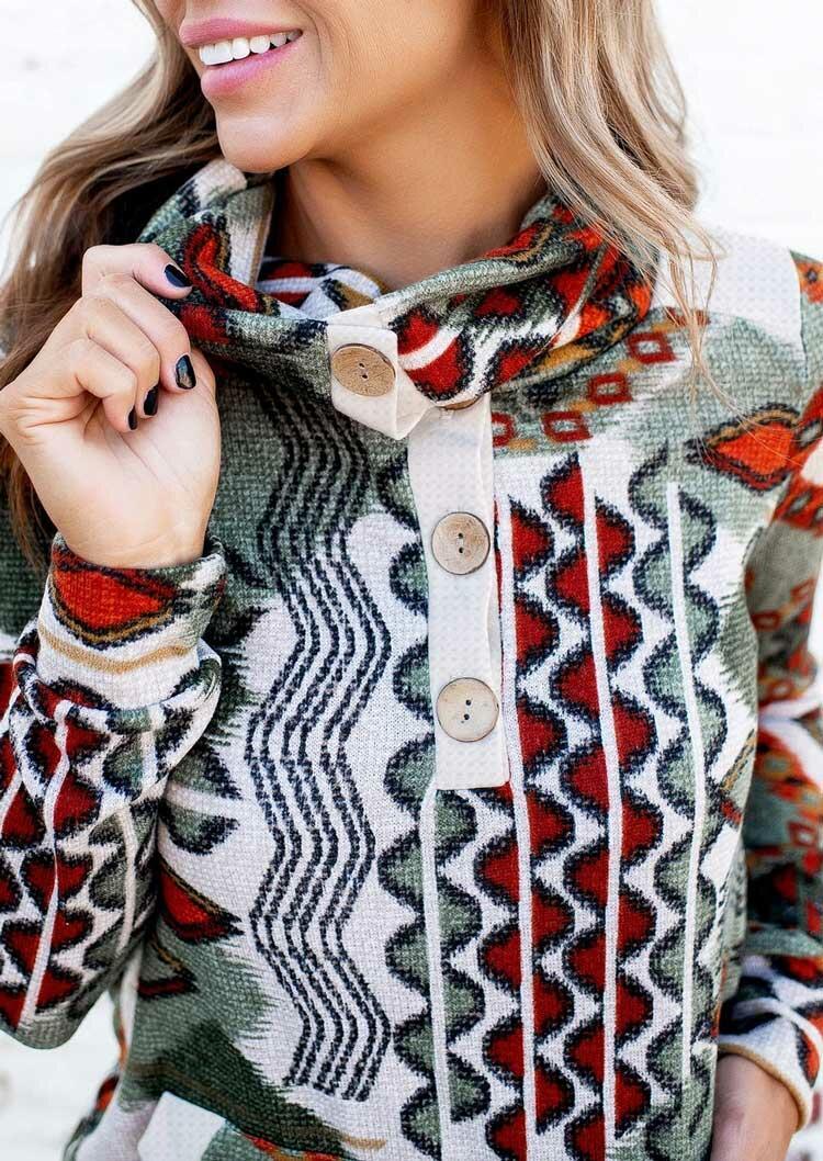 Aztec Geometric Kangaroo Pocket Button Sweatshirt
