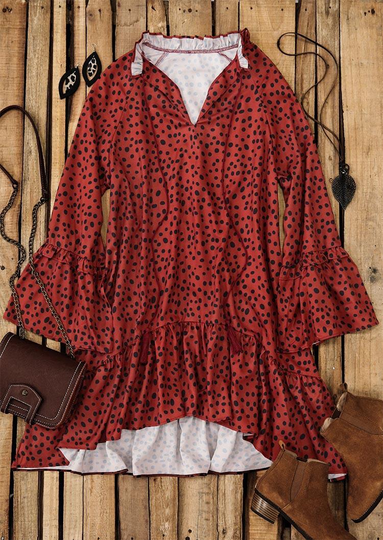 Polka Dot Ruffled Drawstring Tassel V-Neck Mini Dress - Brick Red