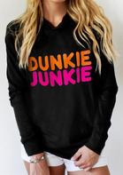 Dunkie Junkie Long Sleeve Casual Pullover Hoodie - Black