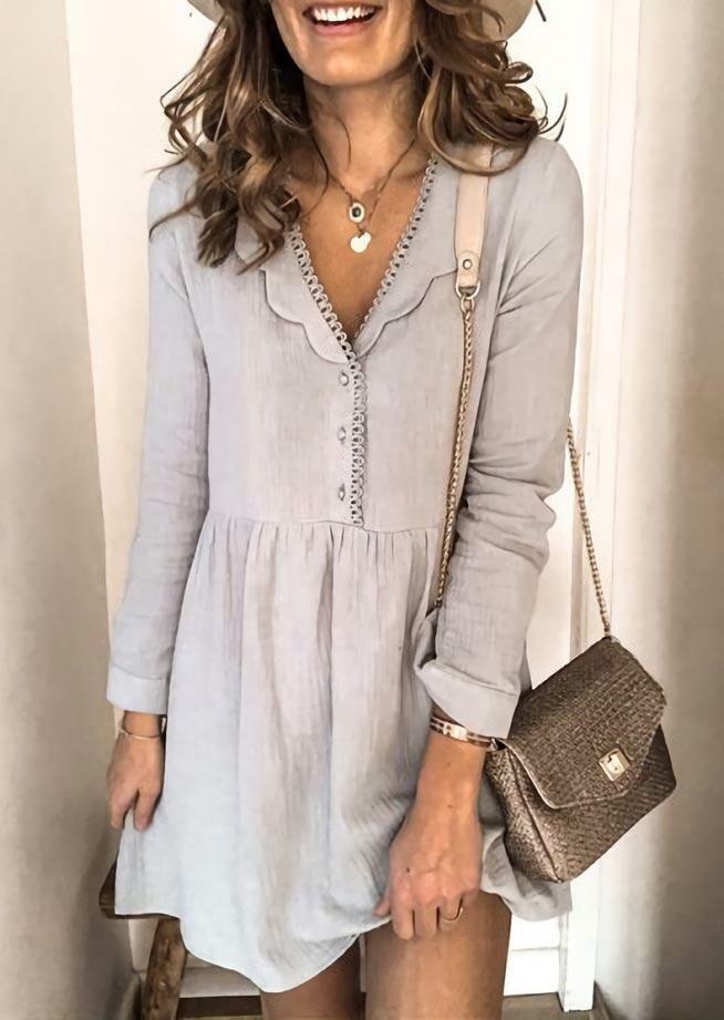 Ruffled Button Lace Splicing V-Neck Mini Dress - Gray