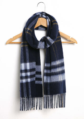 Feelily Unisex Plaid Tartan Tassel Pashmina Scarf For Christmas Gift