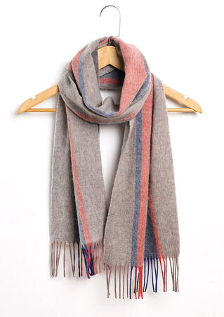 Feelily Christmas Gift Color Block Striped Tassel Pashmina Scarf