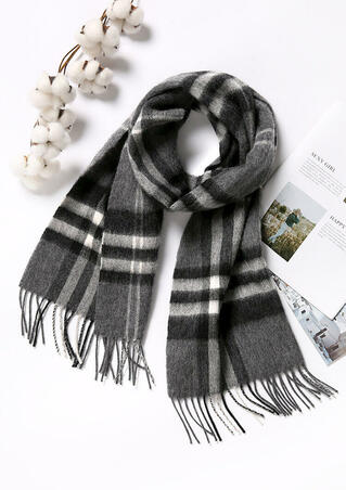 Feelily Classic Gray Plaid Tartan Tassel Pashmina Scarf With Gift Bag