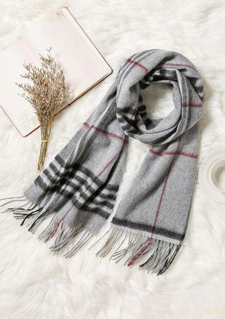 Feelily Unisex Christmas Gift Plaid Tartan Tassel Cashmere Scarf