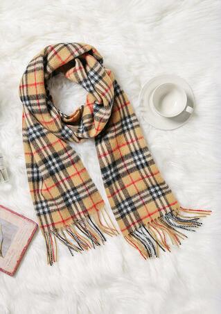 Feelily Unisex Christmas Gift Plaid Tartan Tassel Lambswool Scarf