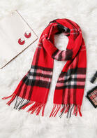 Feelily Plaid Tartan Tassel Pashmina Scarf For Women