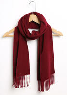 Feelily Classic Burgundy Tassel Cashmere Scarf For Women