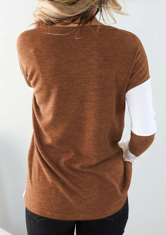 Color Block O-Neck Long Sleeve Casual Blouse - Brown