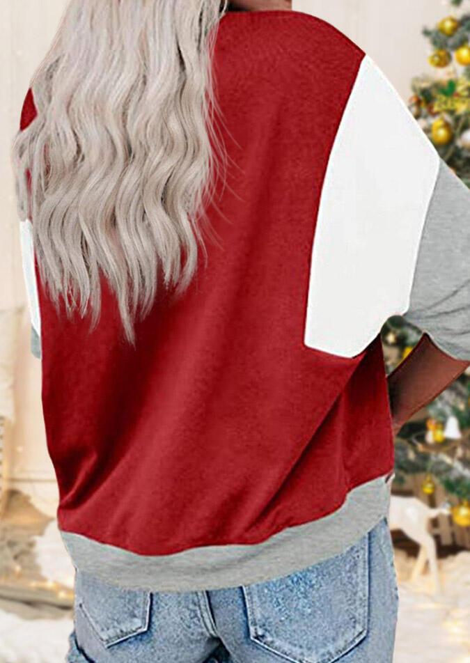 Snowman Color Block Pullover Sweatshirt