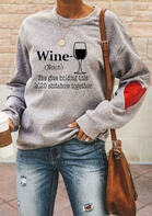 Wine Heart Letter Graphic Pullover Sweatshirt - Gray