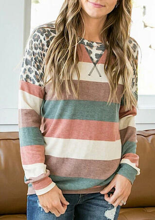 Colorful Striped Leopard Splicing Long Sleeve Blouse