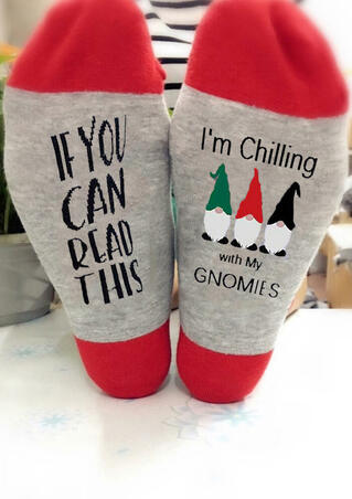 If You Can Read This I'm Chilling With My Gnomies Socks - Red