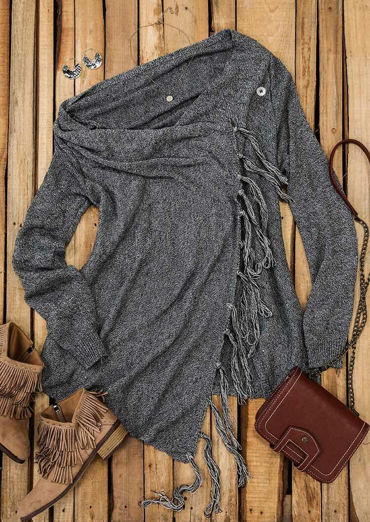 Tassel Splicing O-Neck Long Sleeve Sweater Mini Dress - Dark Grey