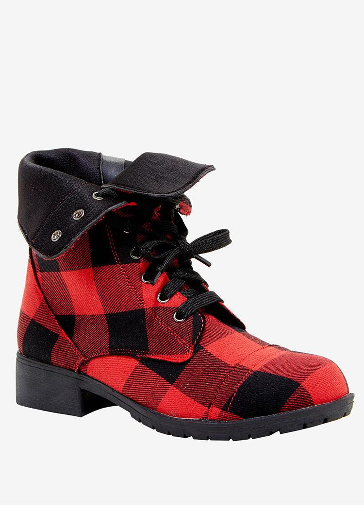 Buffalo Plaid Zipper Low Heeled Combat Boots - Red