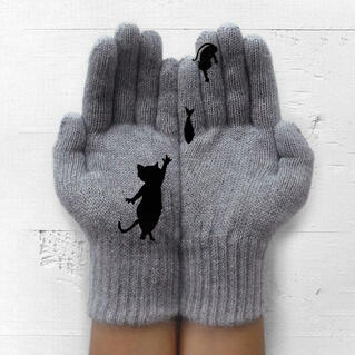 Winter Warm Black Cat Fish Knitted Gloves