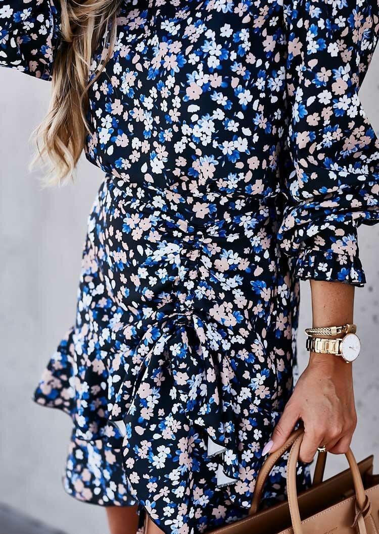 Floral Ruffled Drawstring Button Long Sleeve Mini Dress