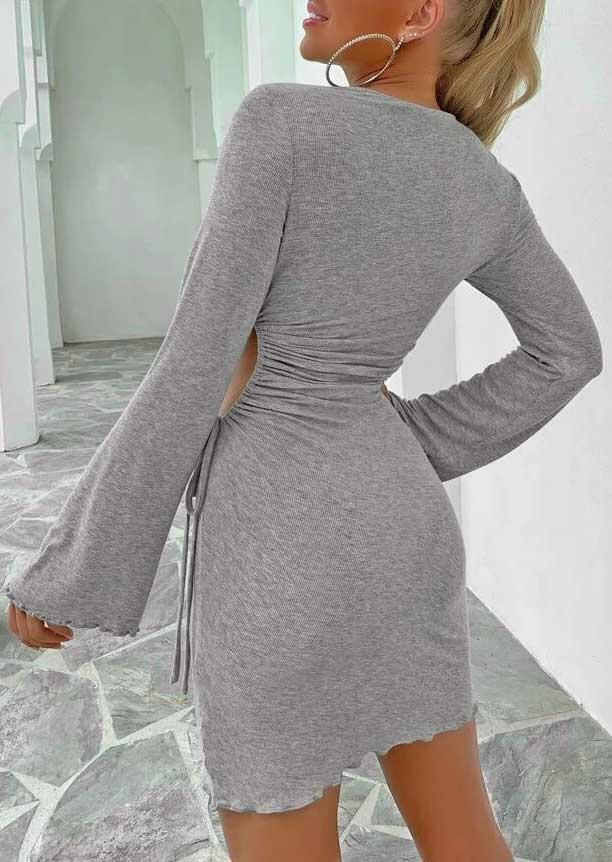Ruched Hollow Out Drawstring Bodycon Dress - Gray