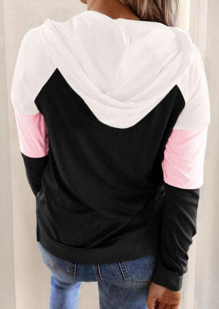 Color Block Drawstring Kangaroo Pocket Hoodie - Black