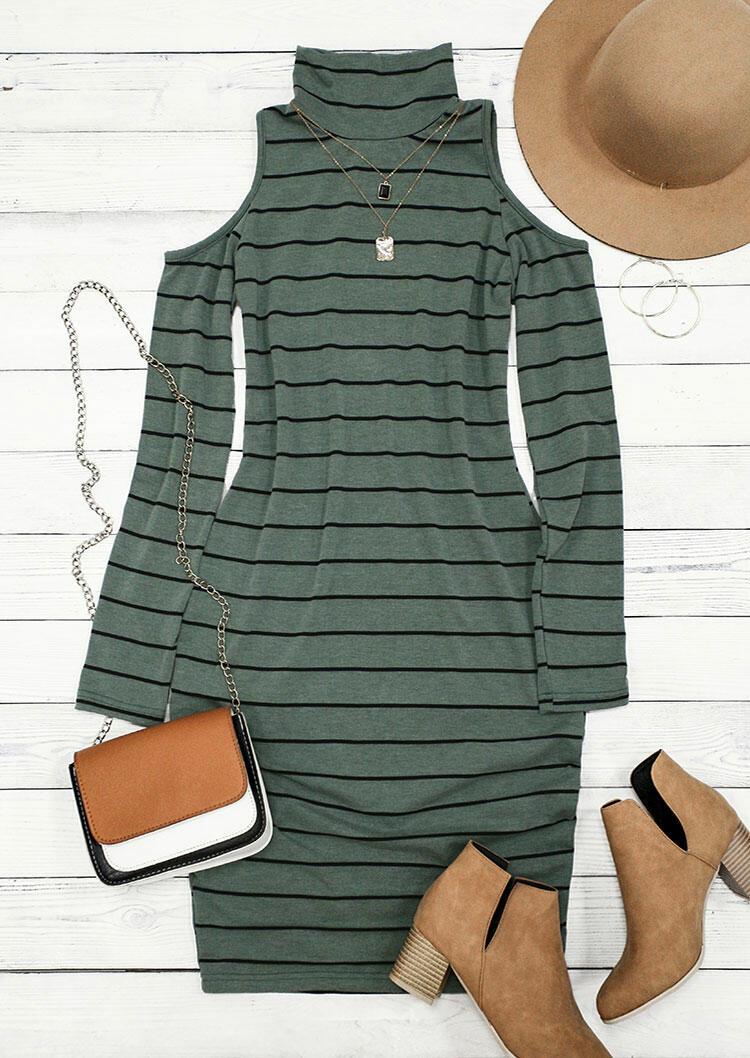 Striped Cold Shoulder Turtleneck Bodycon Dress - Green