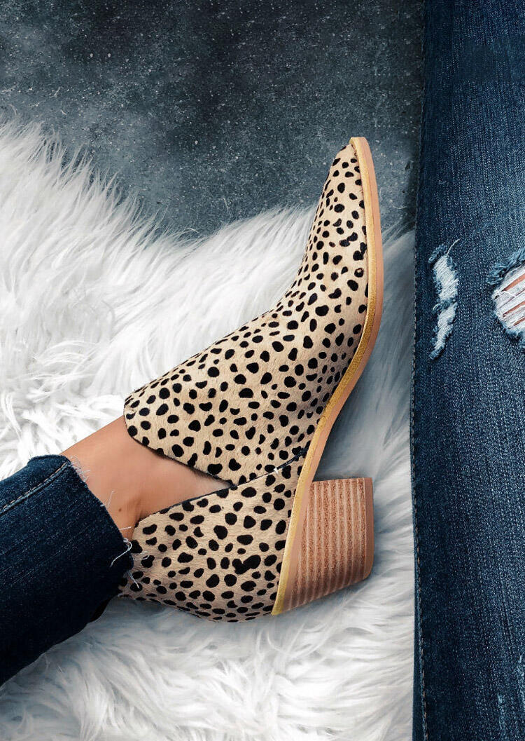 Leopard Chunky Heel Pointed Toe Ankle Boots