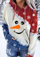 Snowman Snowflake Drawstring Kangaroo Pocket Hoodie