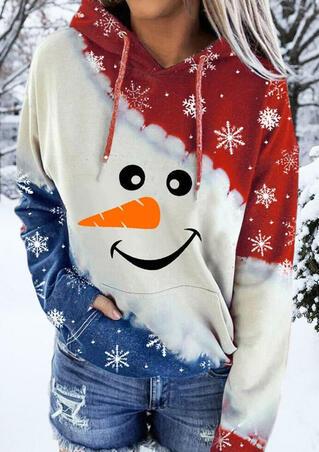 Christmas Snowman Snowflake Drawstring Kangaroo Pocket Hoodie