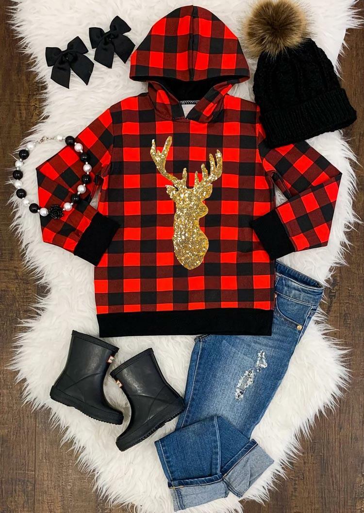 Sequined Reindeer Buffalo Plaid Pullover Hoodie