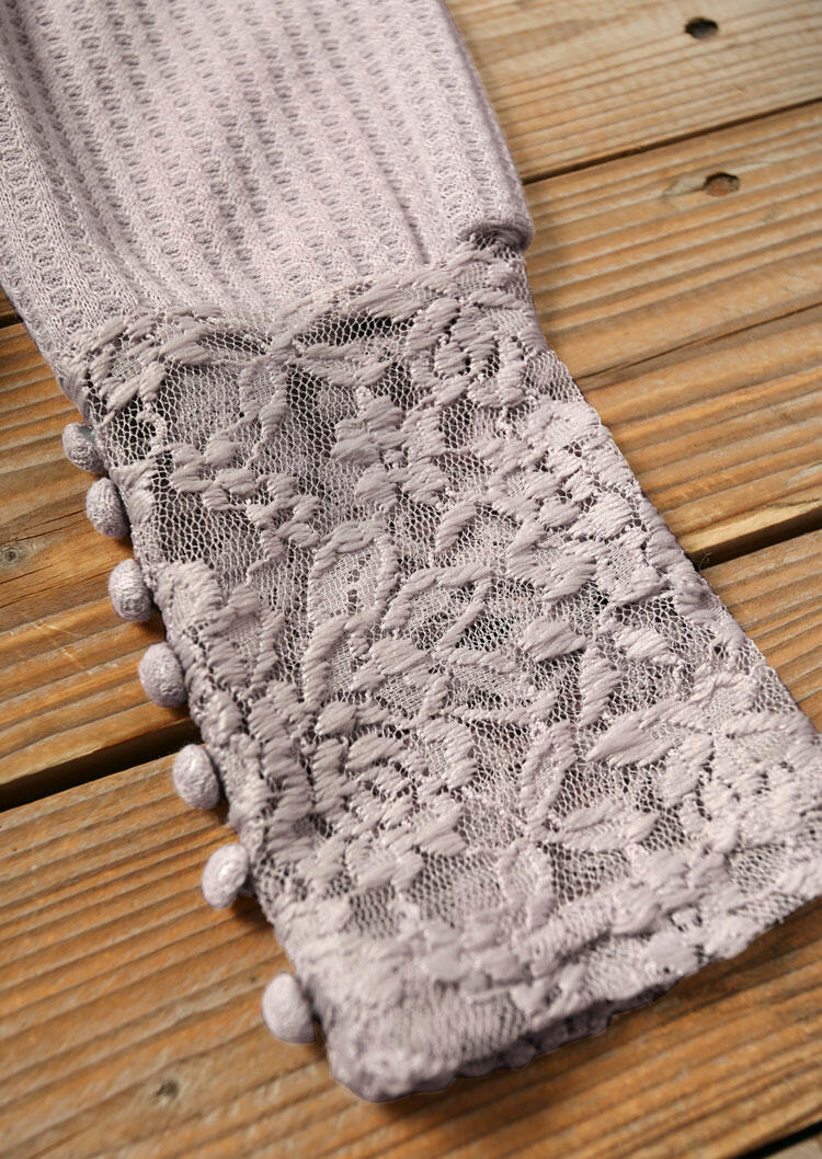 Lace Splicing V-Neck Casual Blouse - Light Pink