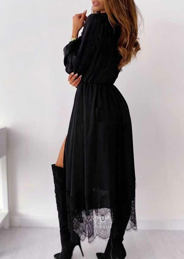 Lace Splicing Slit Elastic Cuff V-Neck Casual Dress - Black
