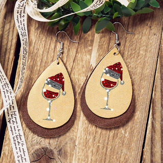 Christmas Hat Wine Glass Water Drop Dual-Layered Earrings