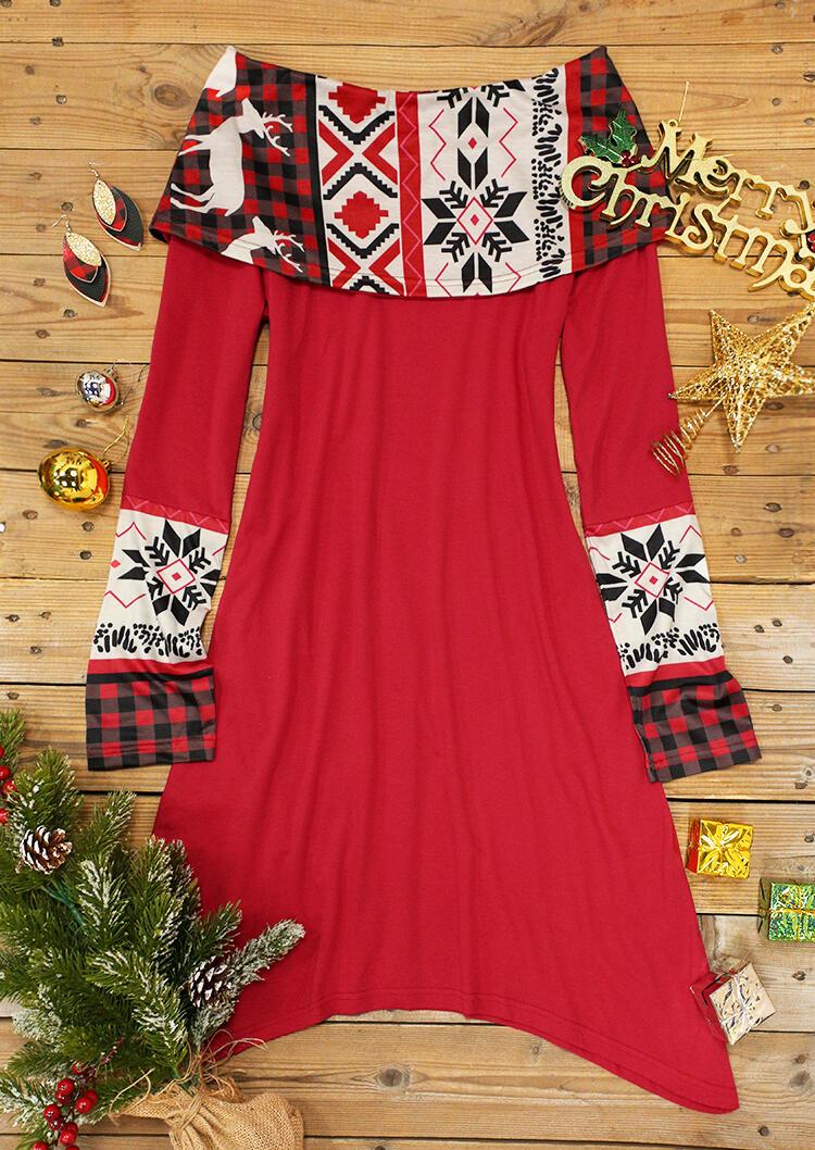 Reindeer Buffalo Plaid Long Sleeve Mini Dress - Red