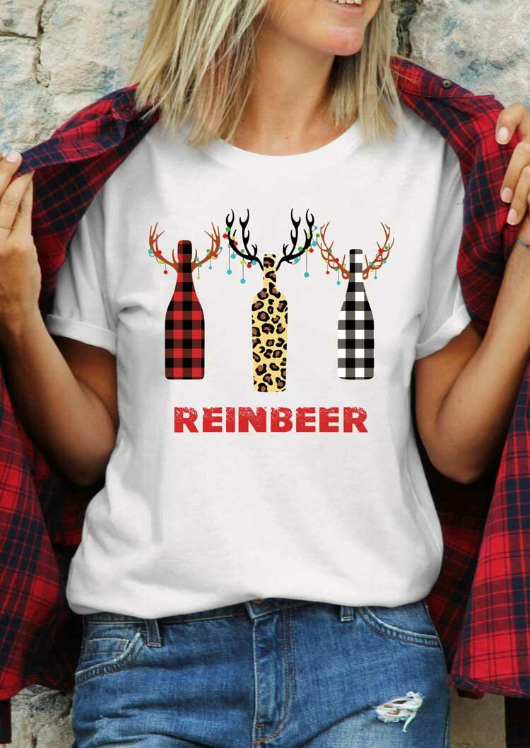 Leopard Plaid Reinbeer T-Shirt Tee - White