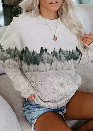 Landscape Treetop Raglan Sleeve Pullover Sweatshirt - White