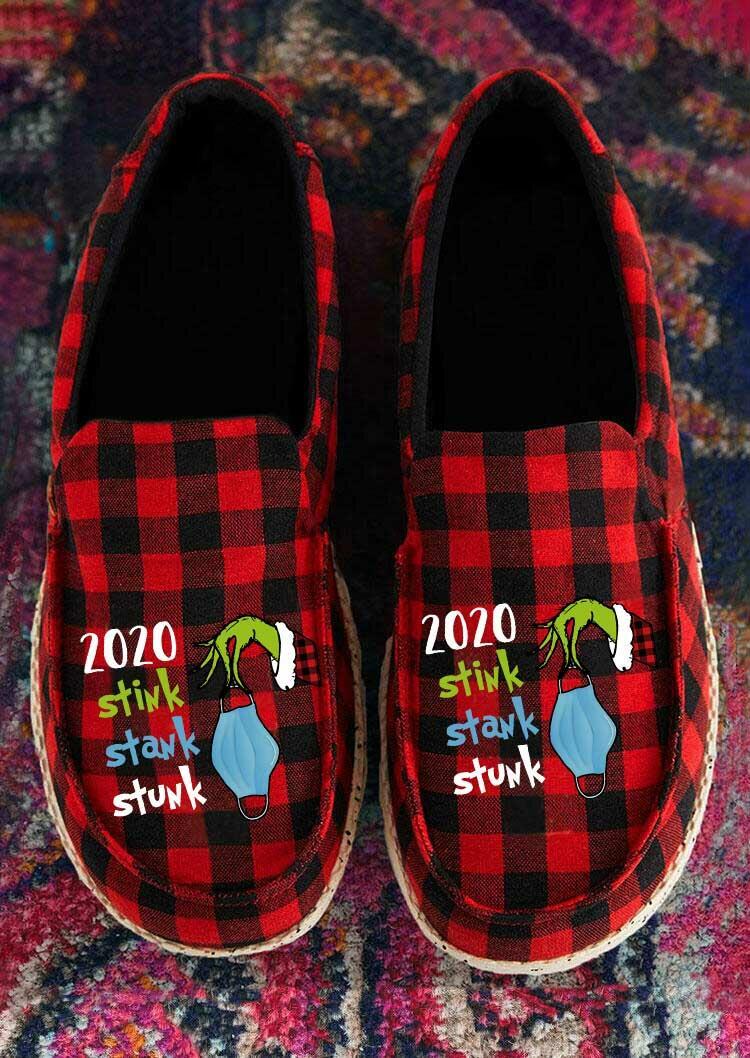 2020 Stink Stank Stunk Grinch Hand Buffalo Plaid Flat Sneakers - Red