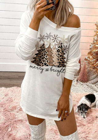 Leopard Christmas Tree Snowflake Merry And Bright Mini Dress - White